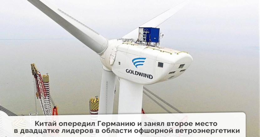 Китай опередил Германию и занял второе место в двадцатке лидеров в области офшорной ветроэнергетики