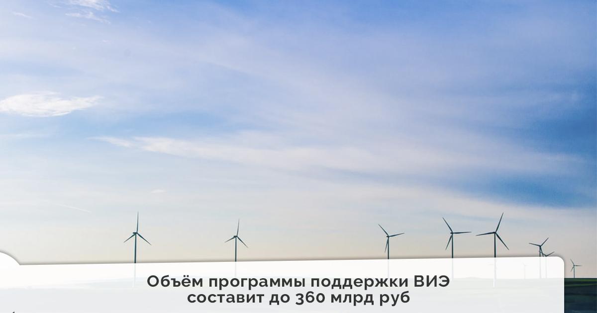 Объём программы поддержки ВИЭ до 2035 г составит до 360 млрд руб